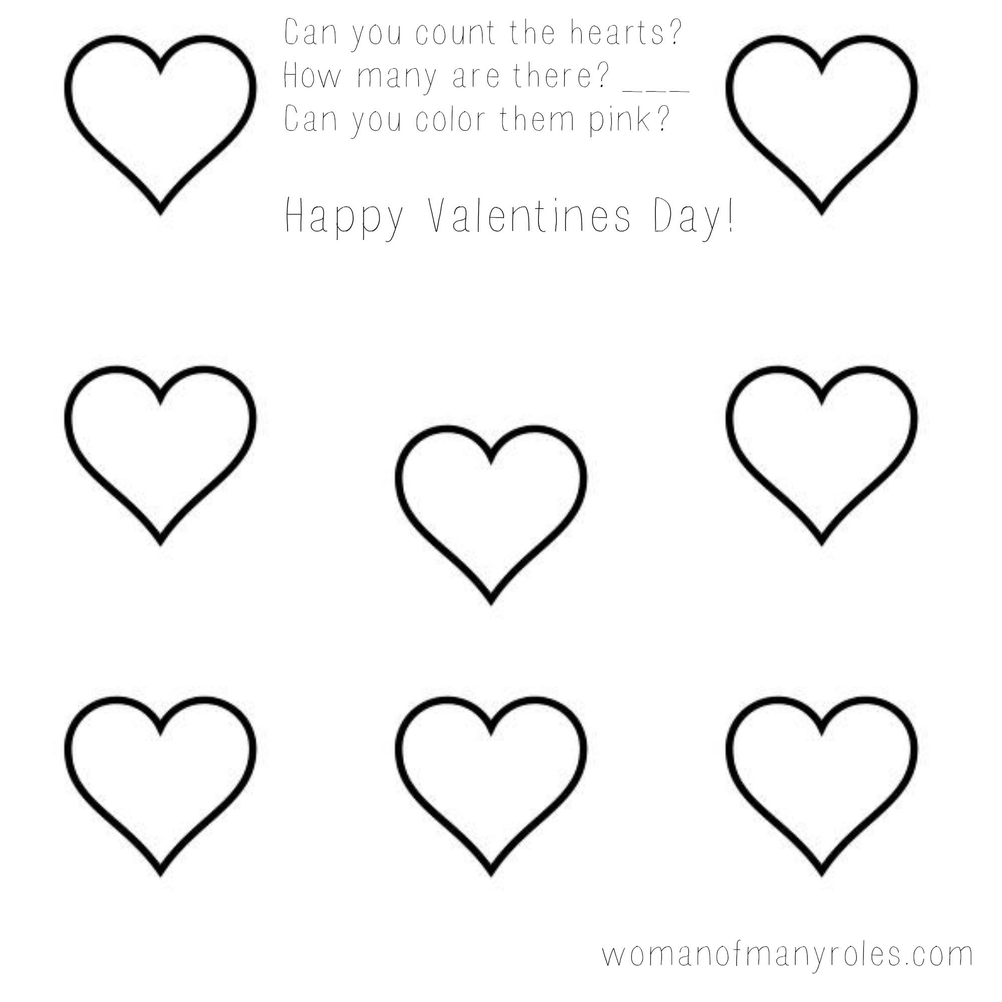 Heart Counting Printable Preschool Worksheet : Woman Of Many Roles | Free Printable Preschool Valentine Worksheets