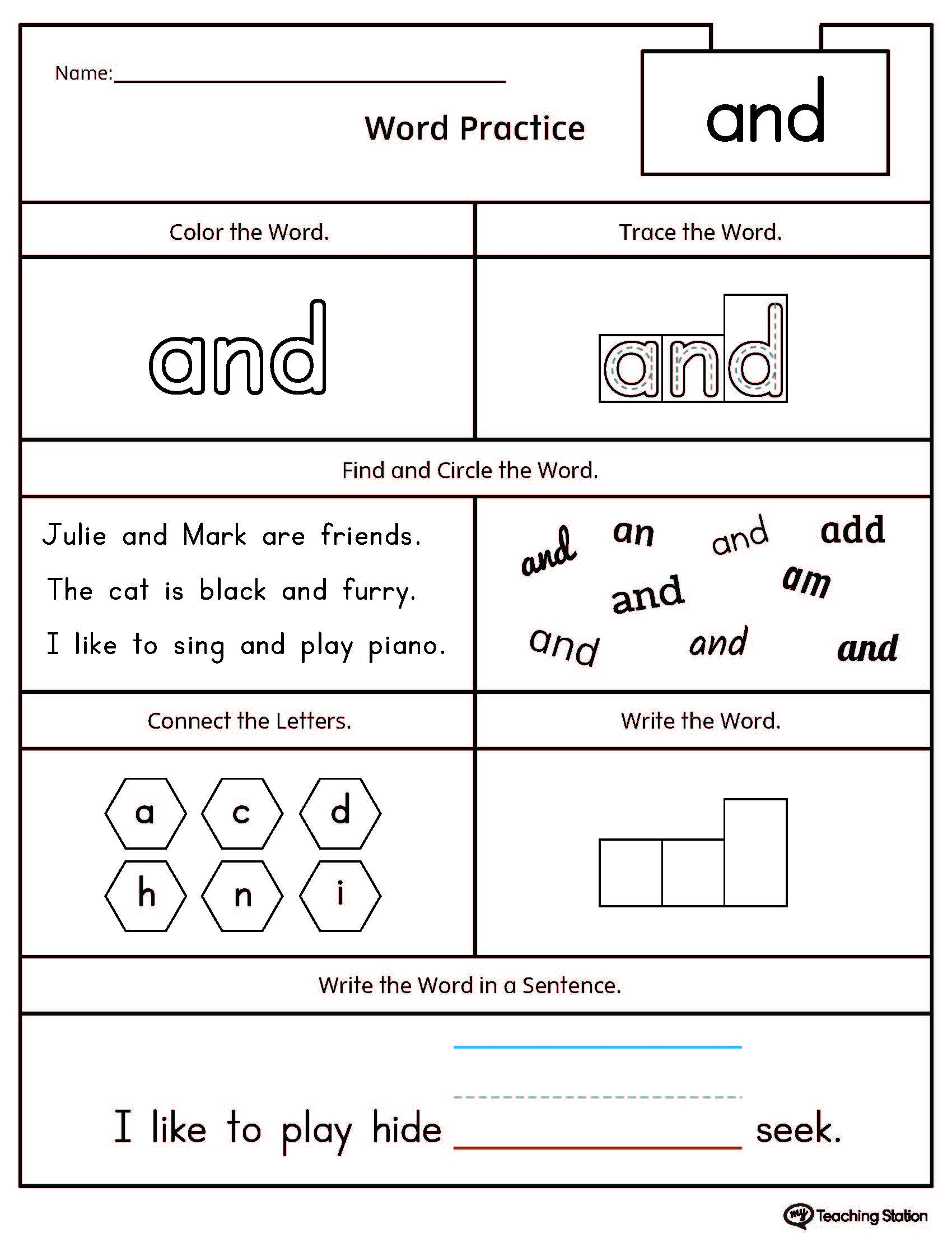 High-Frequency Word And Printable Worksheet | Myteachingstation | Printable Worksheets Com