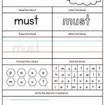 High Frequency Word Must Printable Worksheet | Myteachingstation | Printable Worksheets Com