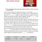 High School Musical Review Worksheet   Free Esl Printable Worksheets | Printable English Worksheets For Middle School