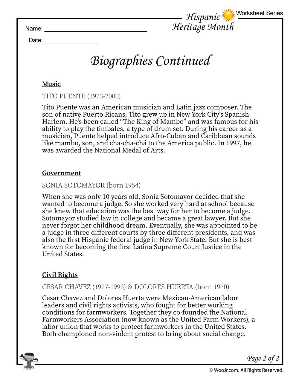 Hispanic Heritage Month Biographies Part 2 | Woo! Jr. Kids Activities | Hispanic Heritage Month Printable Worksheets