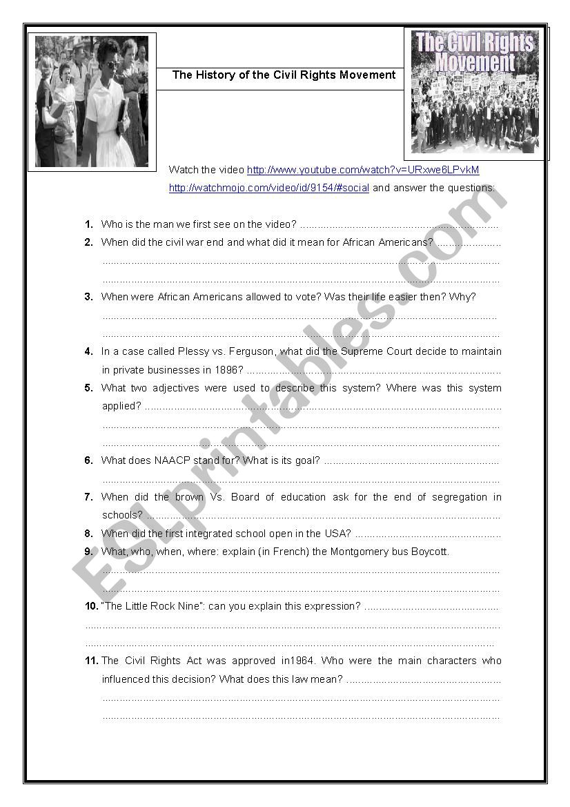 History Of Civil Rights Movement - Esl Worksheetobindidon   Civil Rights Movement Worksheets Printable