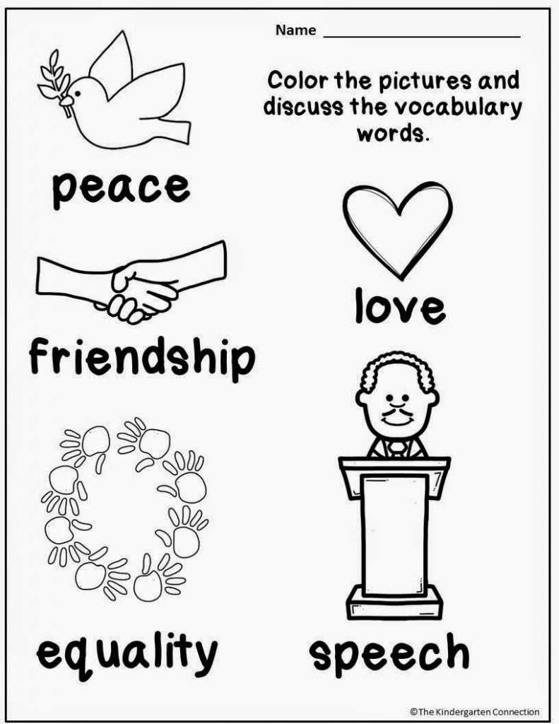 Honoring Martin Luther King, Jr (And A Freebie!) - The Kindergarten | Free Printable Martin Luther King Jr Worksheets For Kindergarten