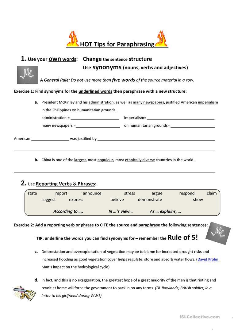 Hot Tips For Paraphrasing Worksheet - Free Esl Printable Worksheets   Printable Paraphrase Practice Worksheet