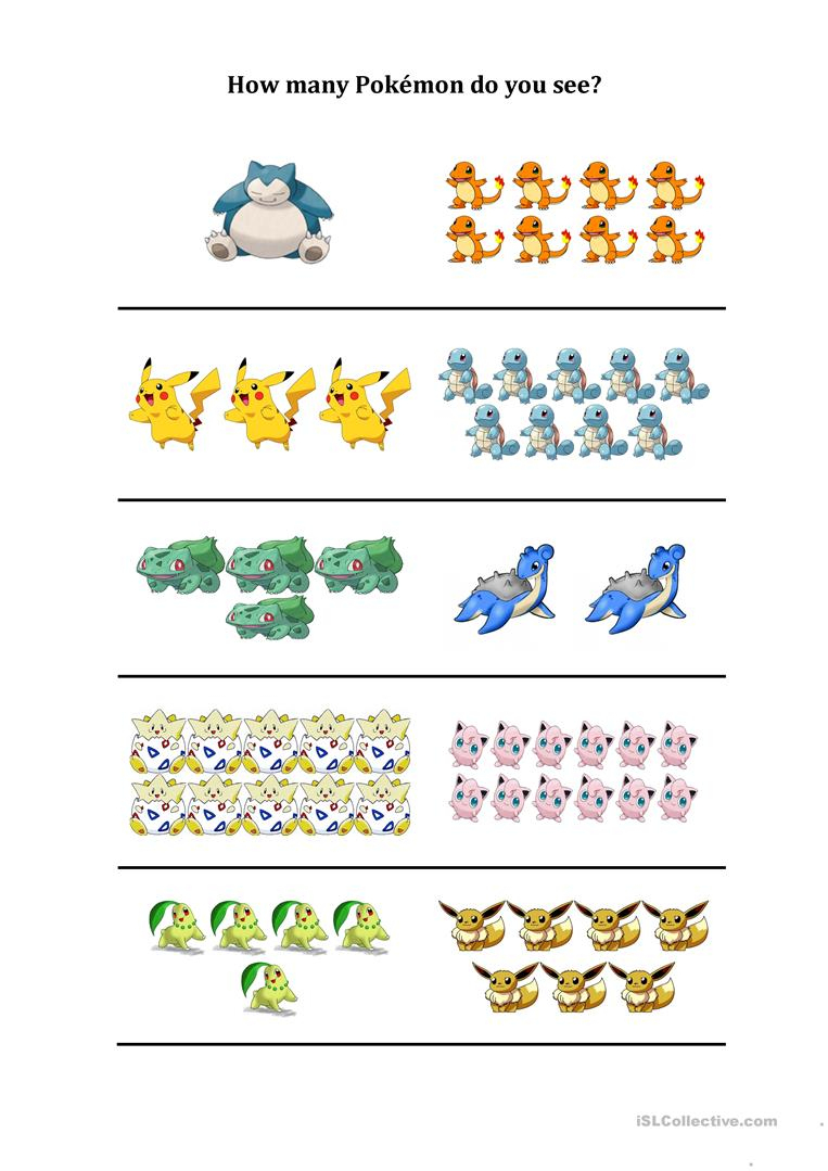 How Many Pokemon Do You See Worksheet - Free Esl Printable | Pokemon Worksheets Printable