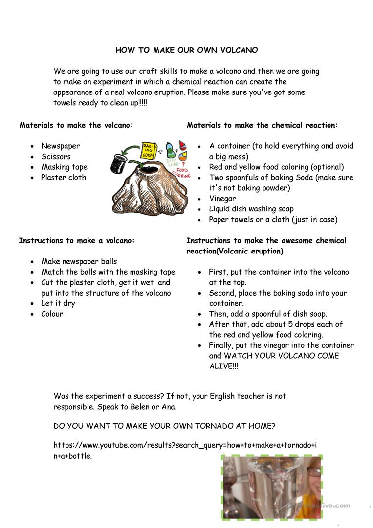 How To Make Your Own Volcano Worksheet - Free Esl Printable | Printable Volcano Worksheets