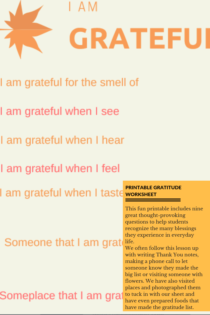 I Am Grateful Free Printable Worksheet For Students | Free Printable Gratitude Worksheets