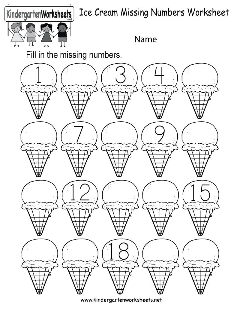 Ice Cream Missing Numbers 1-20 Worksheet For Kindergarten (Free | Counting Worksheets 1 20 Printable