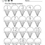 Ice Cream Missing Numbers 1 20 Worksheet For Kindergarten (Free | Free Printable Missing Number Worksheets