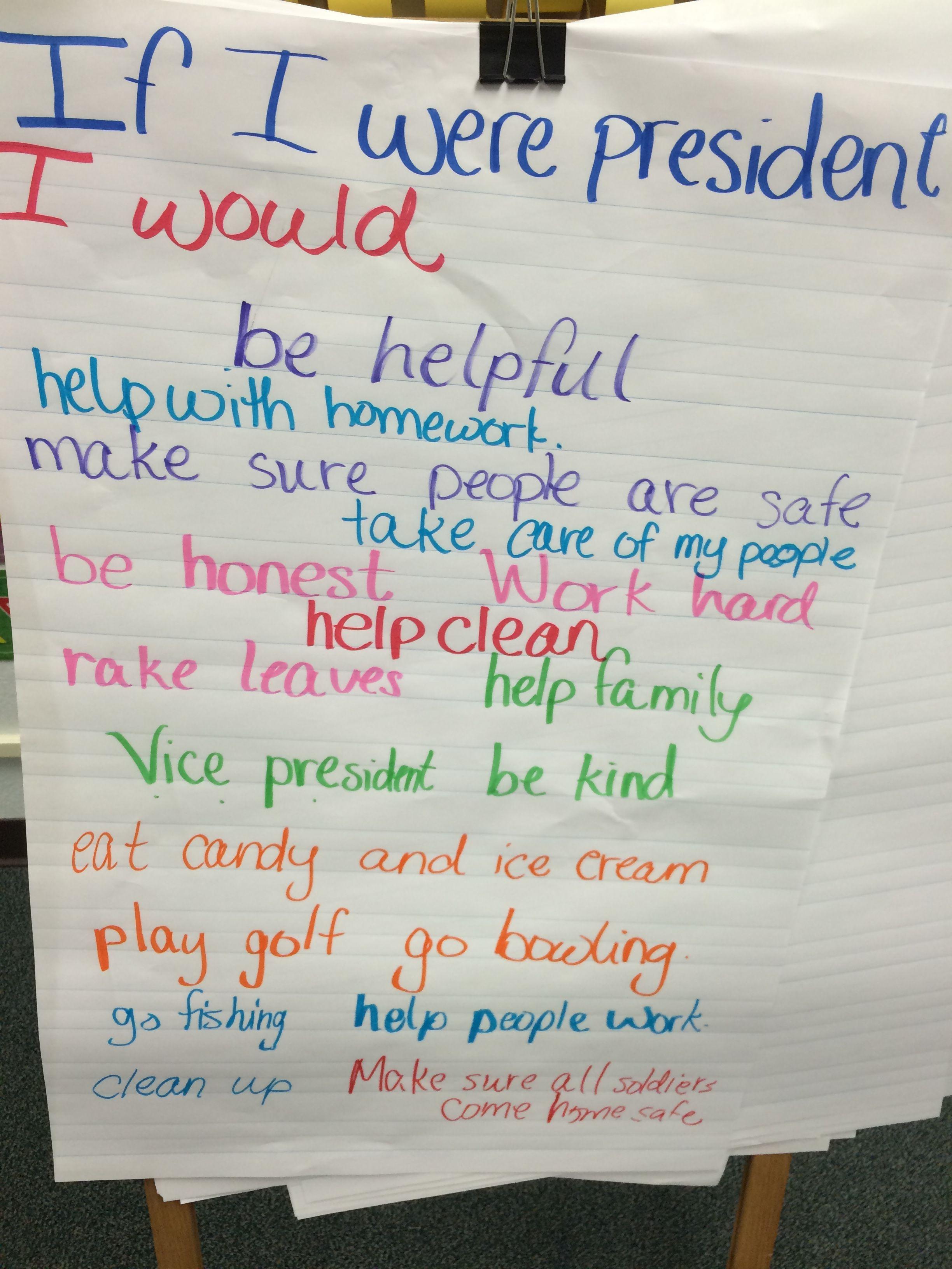 If I Were President Writing Brainstorm | Education | First Grade | If I Were President Printable Worksheet