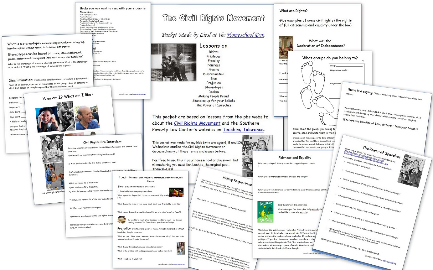 Key Events Of The Civil Rights Movement (Free Packet) - Homeschool Den   Civil Rights Movement Worksheets Printable