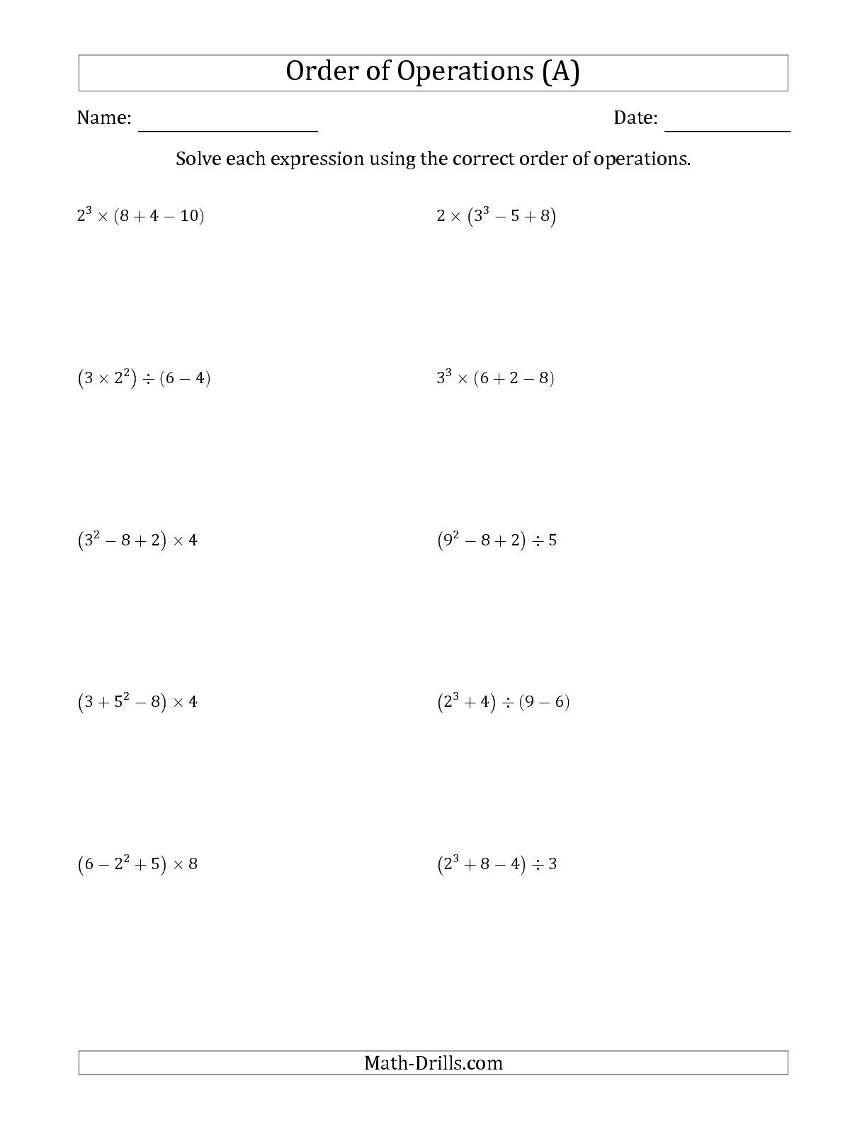 Kids : Order Of Operations Worksheets 7Th Grade Order Of Operations | Free Printable Order Of Operations Worksheets 7Th Grade