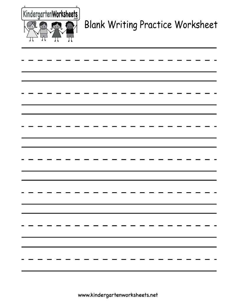 Kindergarten Blank Writing Practice Worksheet Printable | Writing | Blank Handwriting Worksheets Printable Free