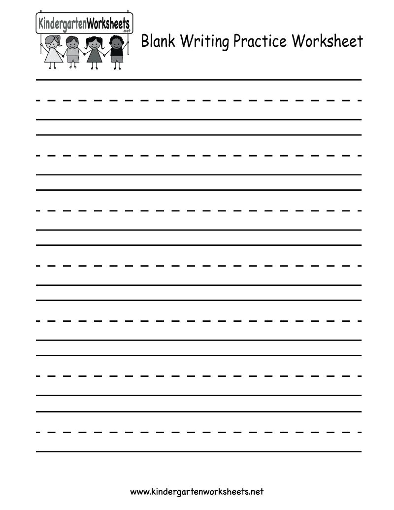 Kindergarten Blank Writing Practice Worksheet Printable   Writing   Printable Writing Worksheets