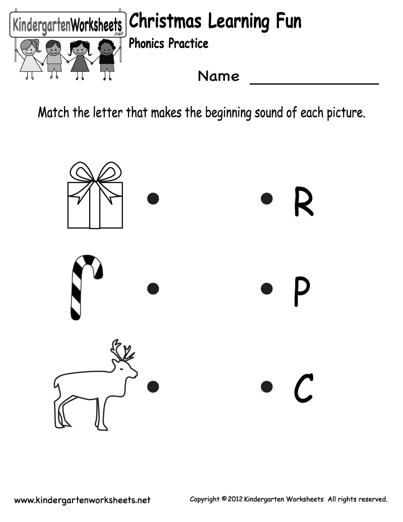 Kindergarten Christmas Phonics Worksheet Printable | Jax School | Free Printable Christmas Kindergarten Worksheets