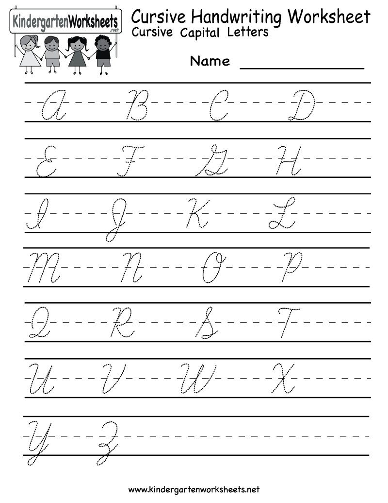 Kindergarten Cursive Handwriting Worksheet Printable | School And | Printable Alphabet Handwriting Worksheets
