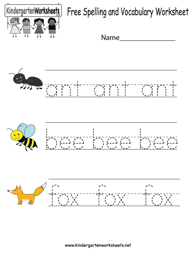Kindergarten Free Spelling And Vocabulary Worksheet Printable | Kids | Spelling Worksheets For Kindergarten Printable