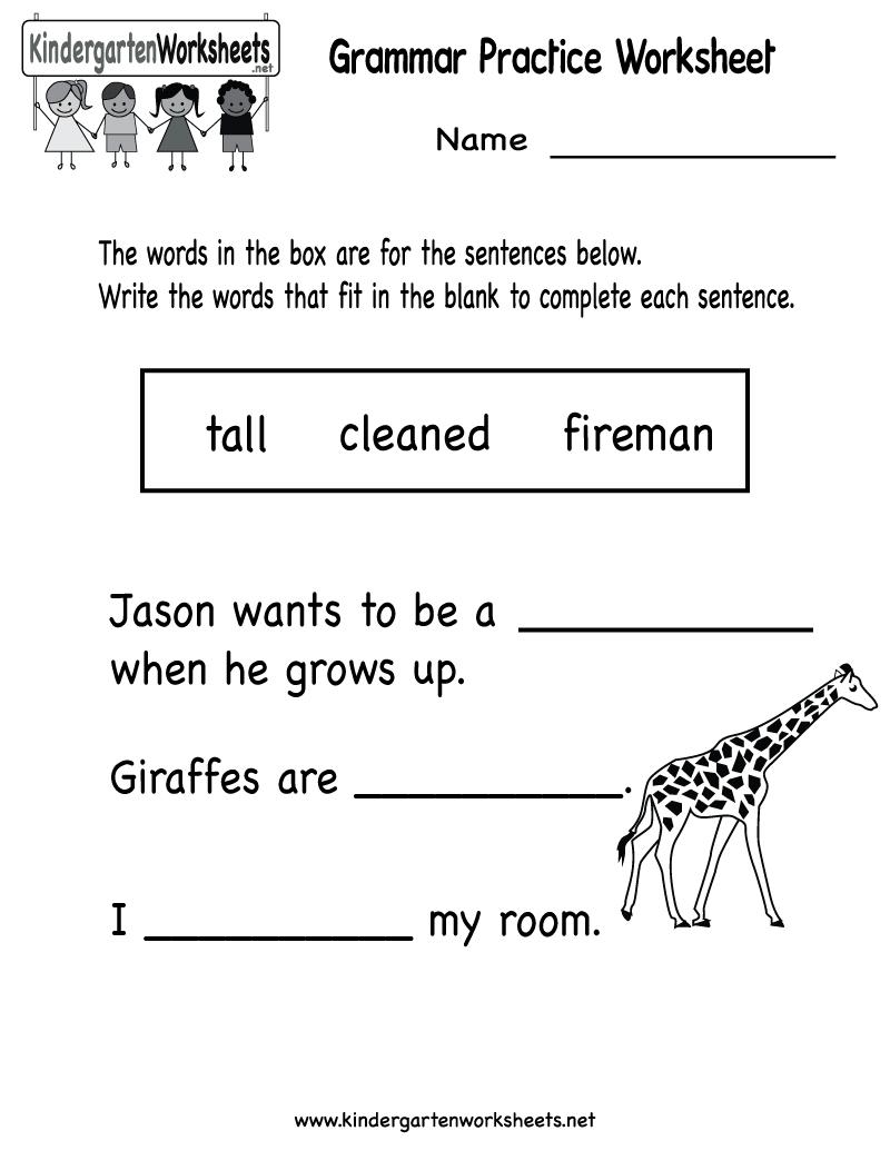 Kindergarten Grammar Practice Worksheet Printable   Worksheets   Kindergarten Ela Printable Worksheets