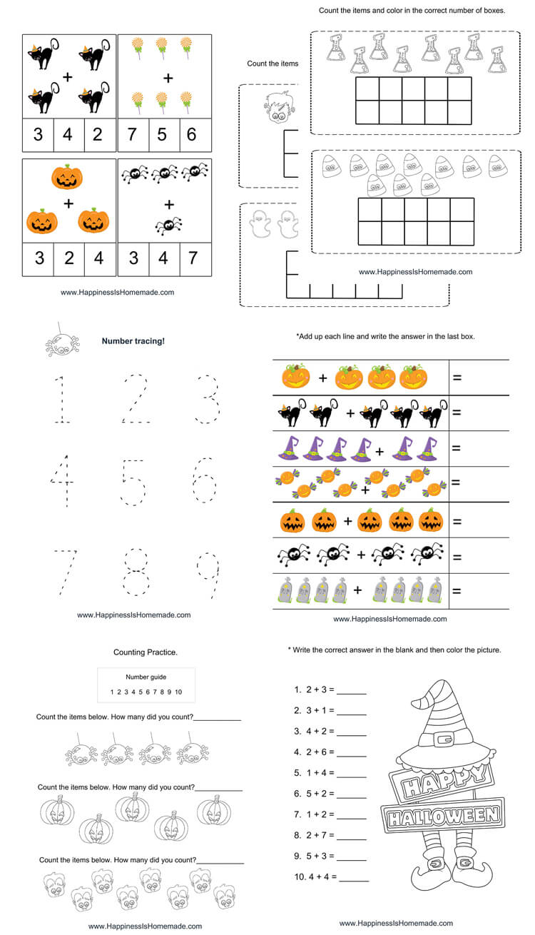 Kindergarten Halloween Math Pack - Happiness Is Homemade | Printable Halloween Math Worksheets