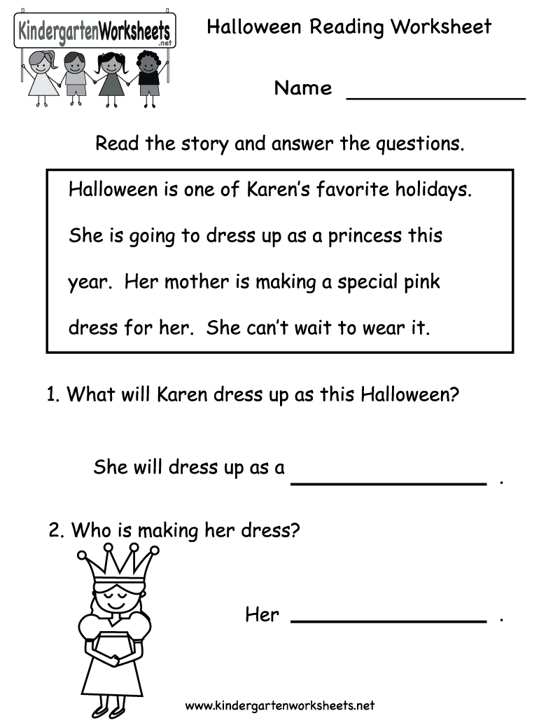 Kindergarten Halloween Reading Worksheet Printable | Free Halloween | Beginning Reading Worksheets Printable