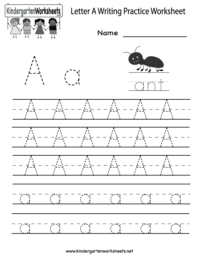 Kindergarten Letter A Writing Practice Worksheet Printable | Free Printable Letter Practice Worksheets