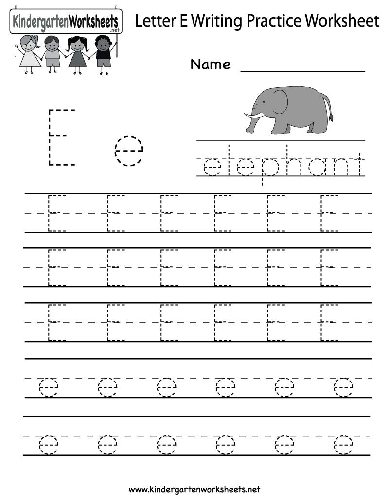 Kindergarten Letter E Writing Practice Worksheet Printable | Letter E Printable Worksheets