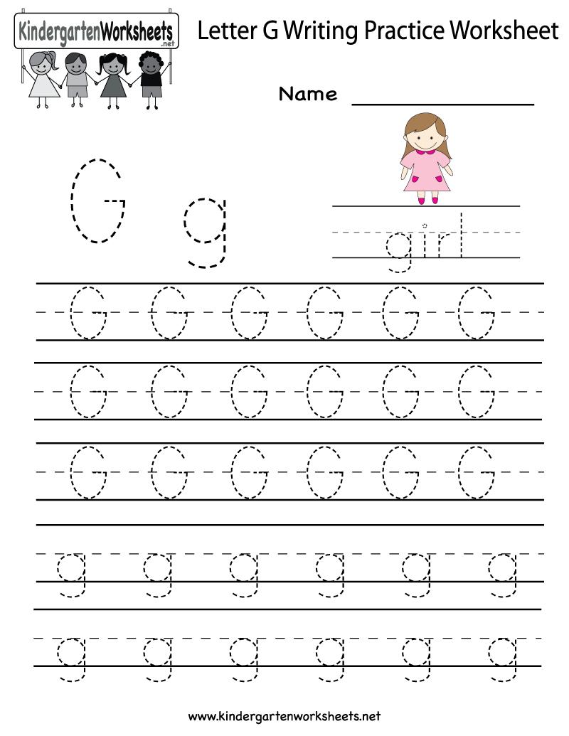 Kindergarten Letter G Writing Practice Worksheet Printable | Letter G Printable Worksheets