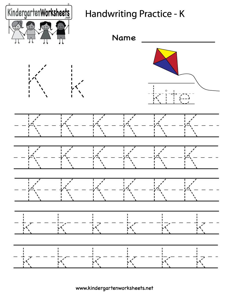 Kindergarten Letter K Writing Practice Worksheet Printable | Life | Letter K Worksheets Printable
