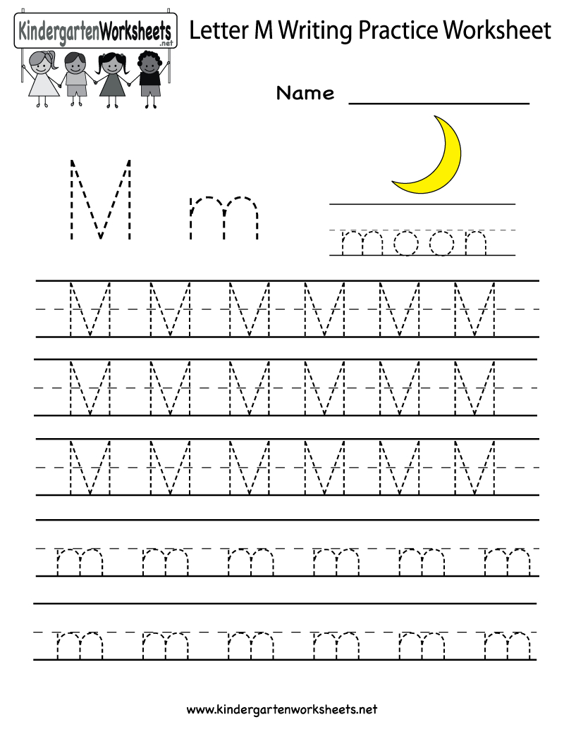 Kindergarten Letter M Writing Practice Worksheet Printable | Letter M Printable Worksheets