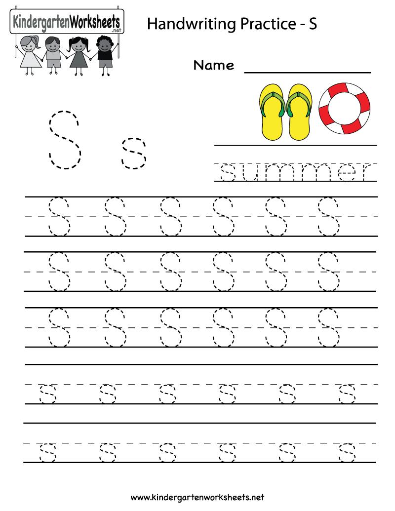 Kindergarten Letter S Writing Practice Worksheet Printable | G | Alphabet Practice Worksheets Printable