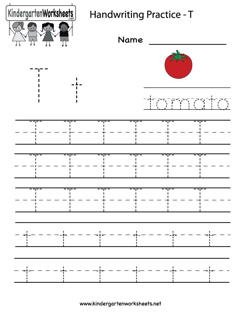Kindergarten Letter T Writing Practice Worksheet Printable | Letter | Alphabet Practice Worksheets Printable