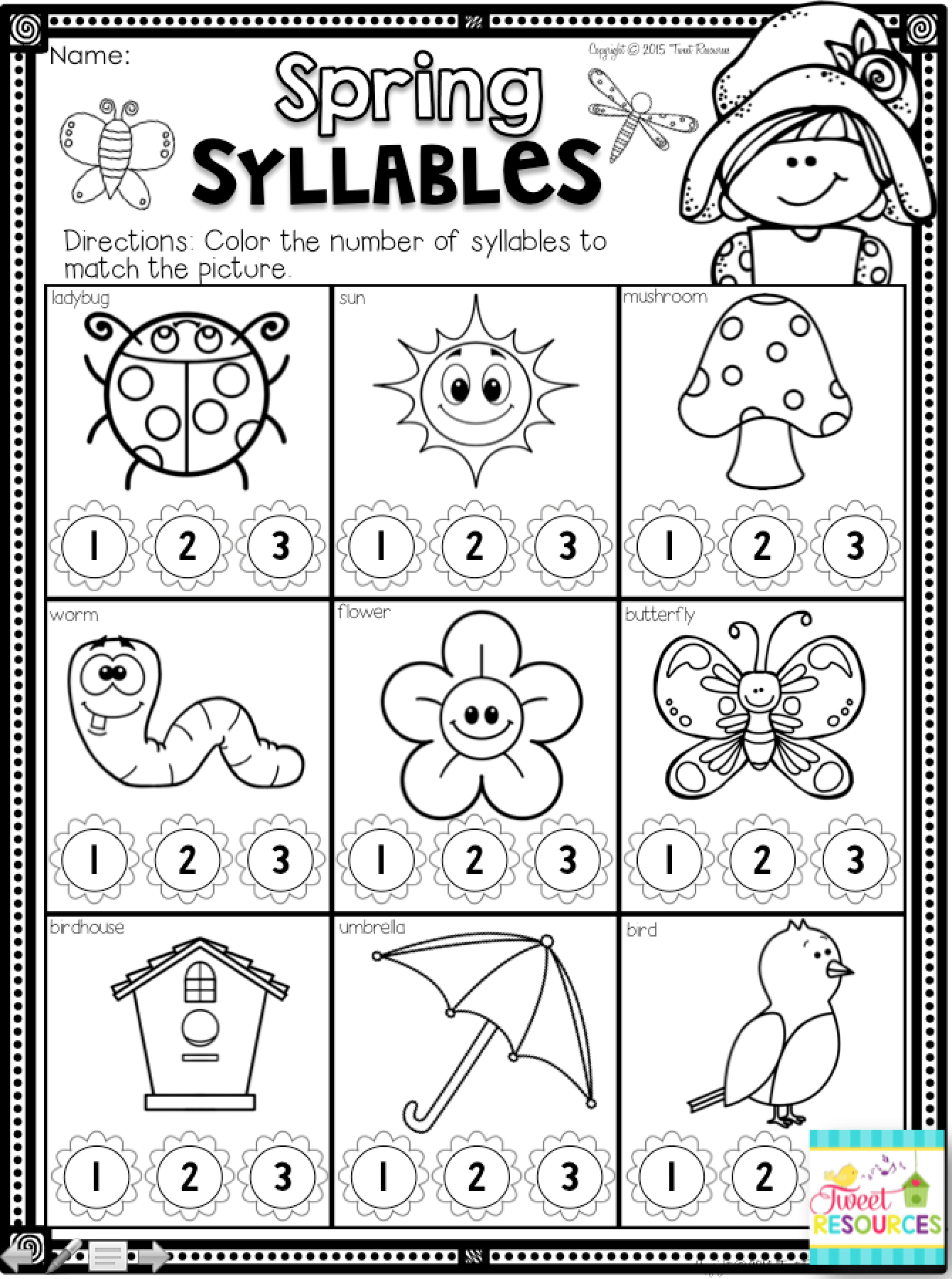 Kindergarten Math And Literacy Printables For Spring! Spring | Spring Printable Worksheets For Preschoolers