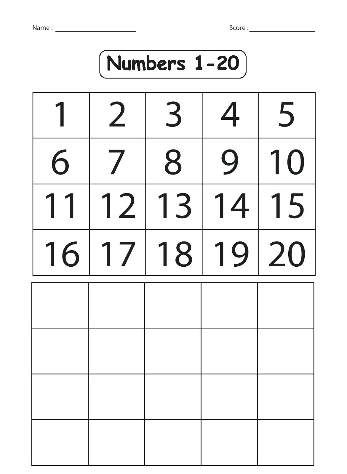 Kindergarten Number Worksheets 1 20 Worksheets Numbers 1 For - Free | Free Printable Counting Worksheets 1 20