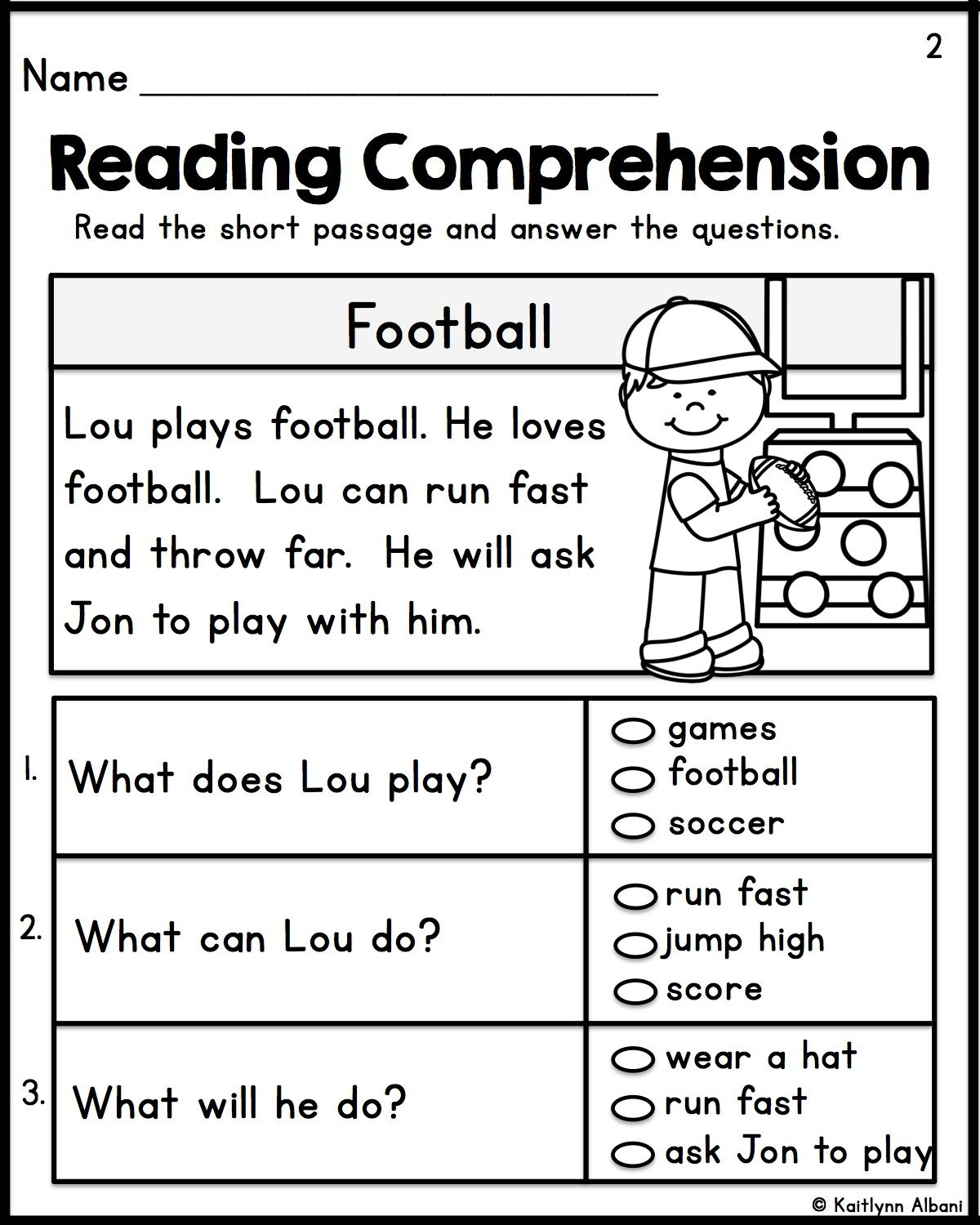 Kindergarten Reading Comprehension Passages - Set 1 | Teacher | Free Printable Reading Worksheets For 1St Grade