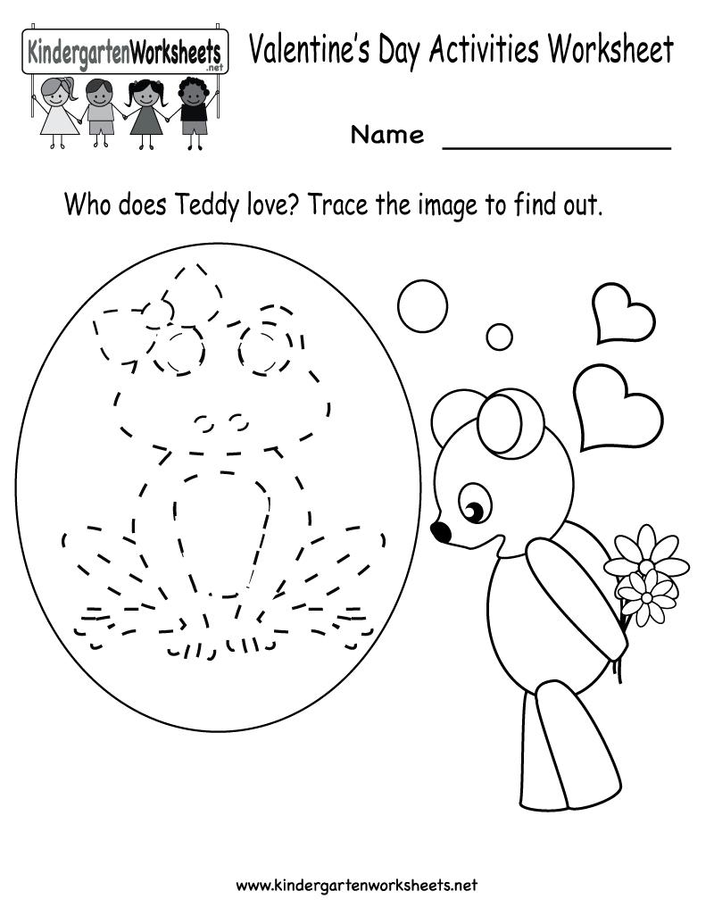 Kindergarten Valentine's Day Activities Worksheet Printable | Cute | Kindergarten Worksheets Printable Activities