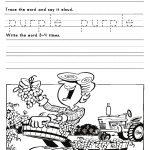 Kindergarten Worksheets: Color Words Worksheets   Purple | Free Printable Kindergarten Worksheets Color Words