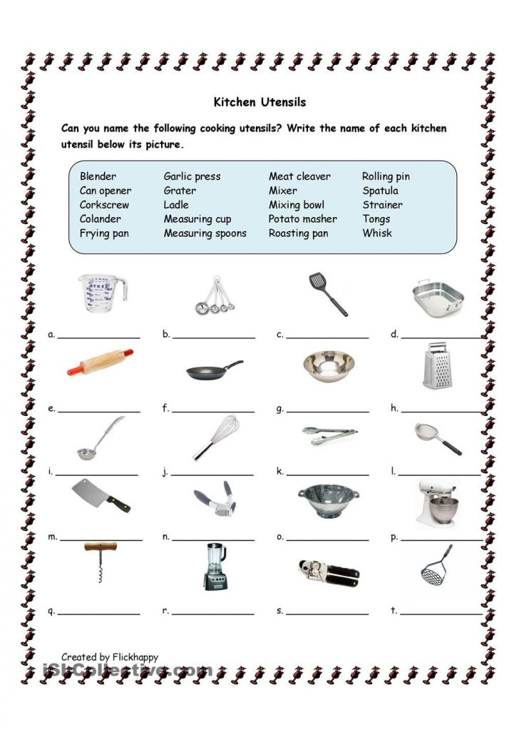 Kitchen Utensils Printable Worksheets