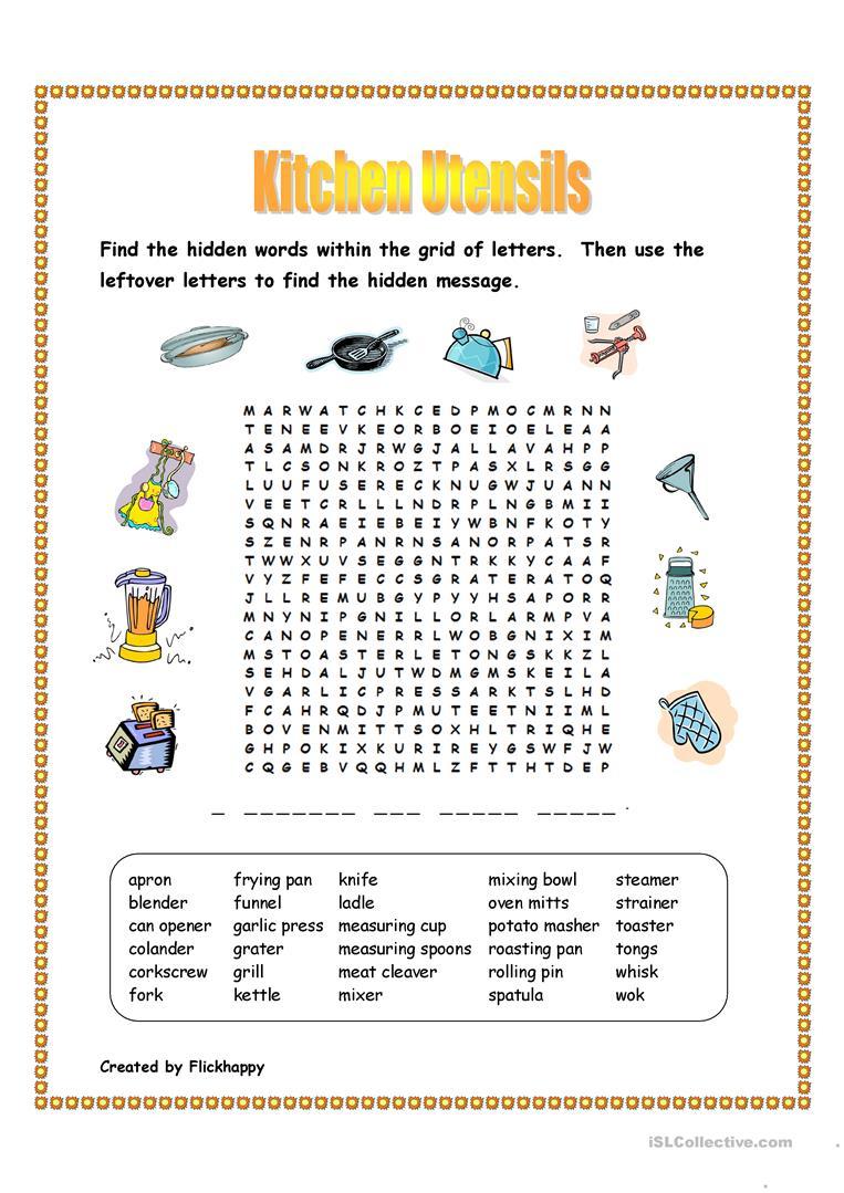 Kitchen Utensils Wordsearch Worksheet - Free Esl Printable | Kitchen Utensils Printable Worksheets