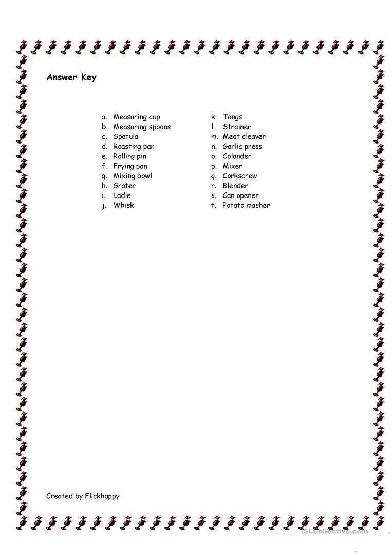 Kitchen Utensils Worksheet - Free Esl Printable Worksheets Made | Kitchen Utensils Printable Worksheets