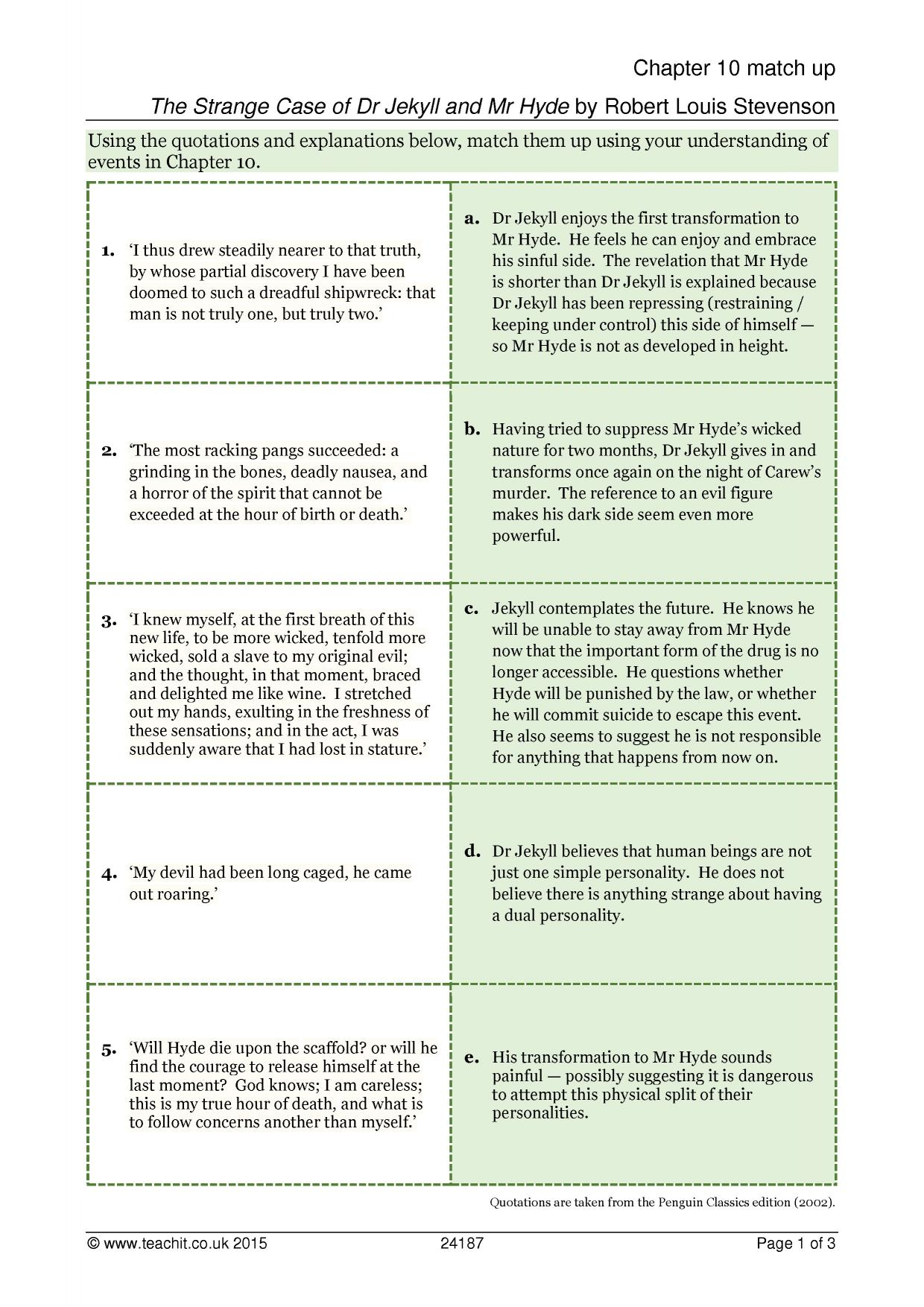 Ks4 Prose | Dr Jekyll And Mr Hyde (The Strange Case Of)Robert | Dr Jekyll And Mr Hyde Printable Worksheets