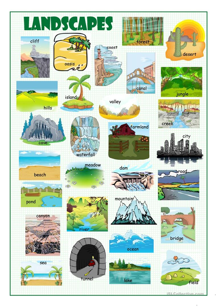 Landscapes Picture Dictionary Worksheet - Free Esl Printable | Free Printable Landform Worksheets