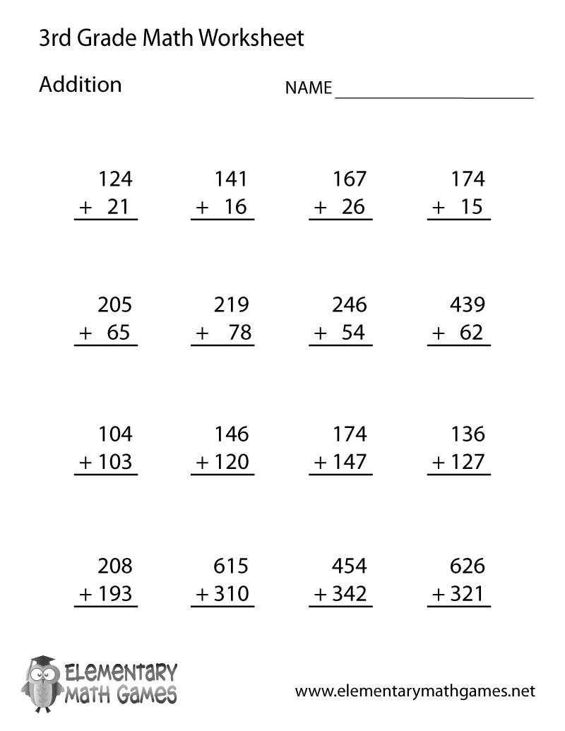 Learn And Practice Addition With This Printable 3Rd Grade Elementary | Printable Elementary Math Worksheets