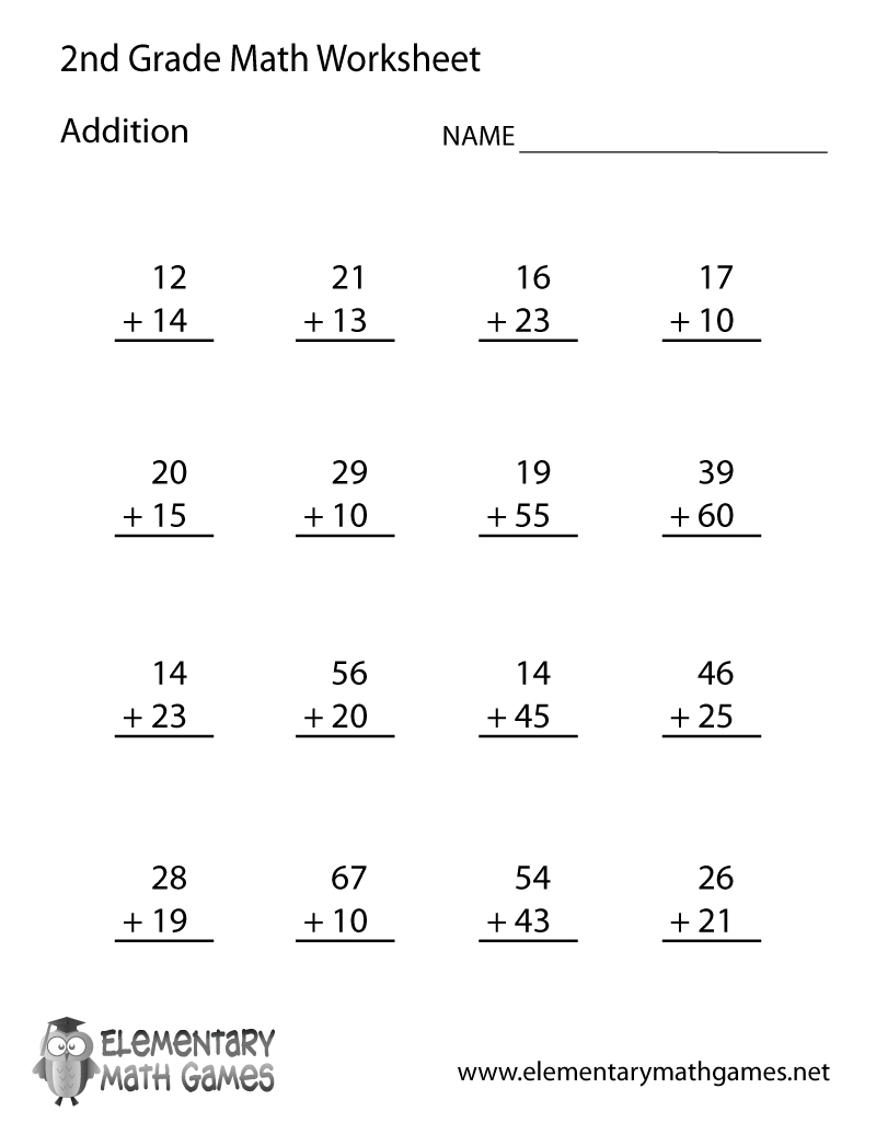 Learn And Practice How To Add With This Printable 2Nd Grade - Free   Free Printable Second Grade Worksheets
