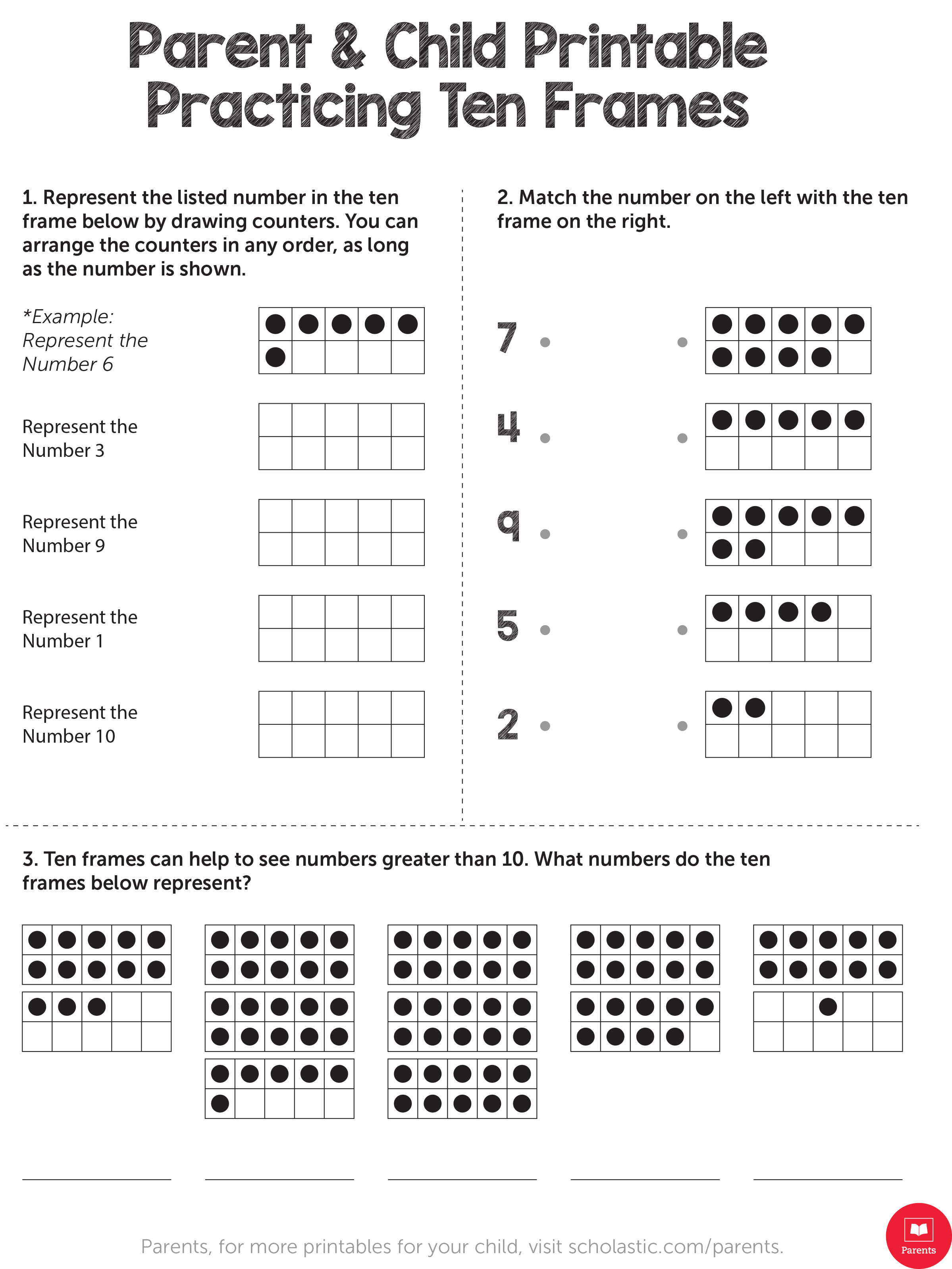 Learn Your Child's Math With This Ten Frame Printable | Scholastic | Frame Games Printable Worksheets
