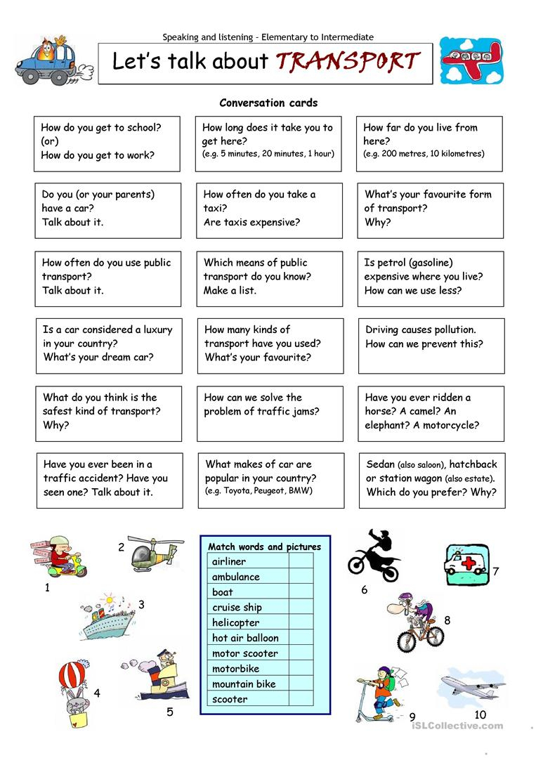 Let´s Talk About Transport Worksheet - Free Esl Printable Worksheets | Free Printable Worksheets On Means Of Communication