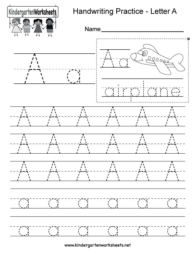 Letter A Writing Practice Worksheet - Free Kindergarten English | Free Printable Writing Worksheets For Kindergarten