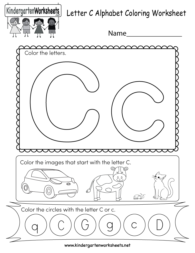 Letter C Coloring Worksheet - Free Kindergarten English Worksheet | Free Printable Letter C Worksheets