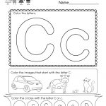 Letter C Coloring Worksheet   Free Kindergarten English Worksheet | Free Printable Preschool Worksheets Letter C