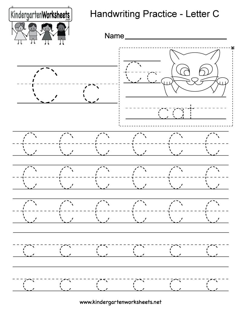 Letter C Writing Practice Worksheet - Free Kindergarten English   Letter C Printable Worksheets