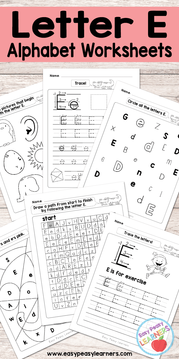 Letter E Worksheets - Alphabet Series - Easy Peasy Learners | Letter E Free Printable Worksheets
